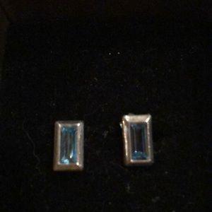 Blue topaz rectangle emerald cut silver earrings